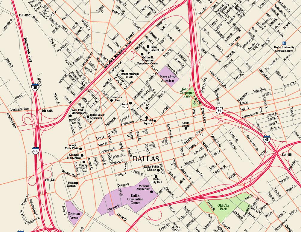 downtown dallas map pdf Downtown Dallas Map Dallas Tx Mappery downtown dallas map pdf