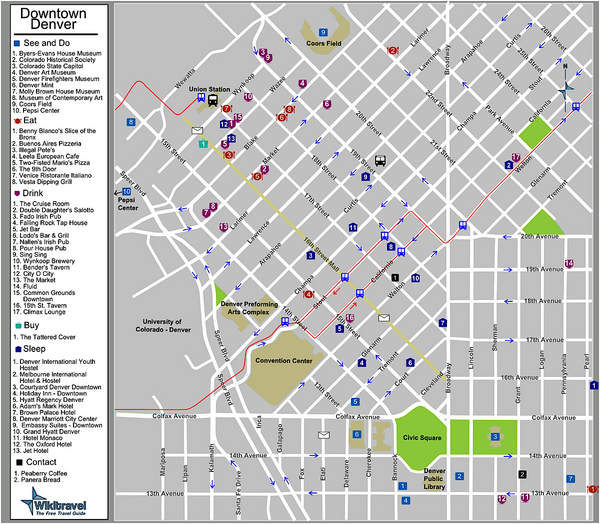 Downtown Denver Colorado Tourist Map Denver CO mappery – Colorado Tourist Map