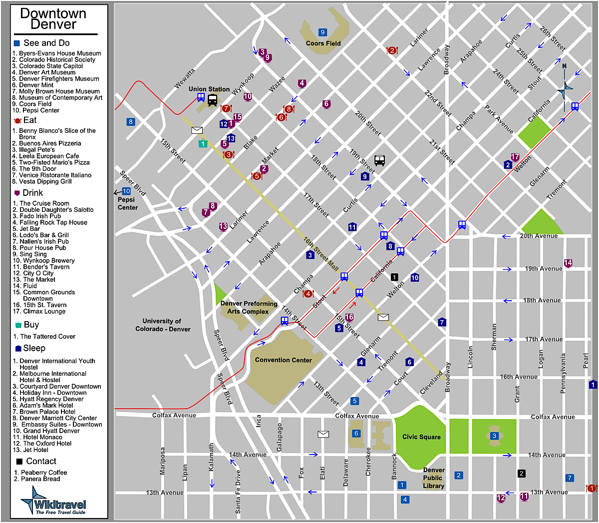 downtown denver colorado tourist map  denver co • mappery -