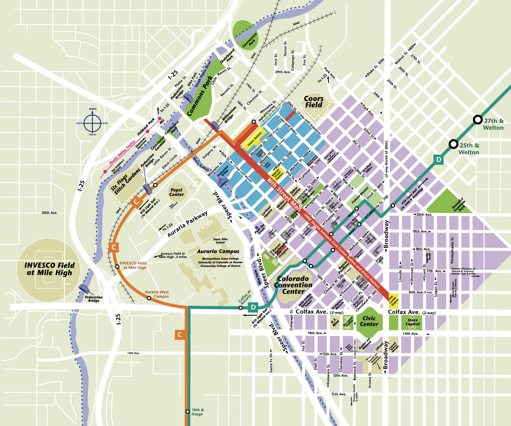 downtown denver map  denver co • mappery -