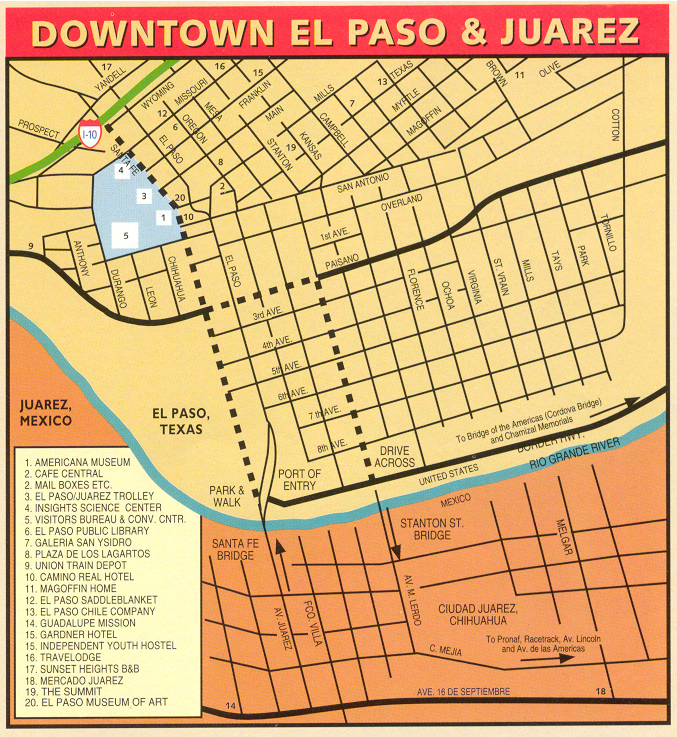 Downtown El Paso Map - El Paso Texas • mappery