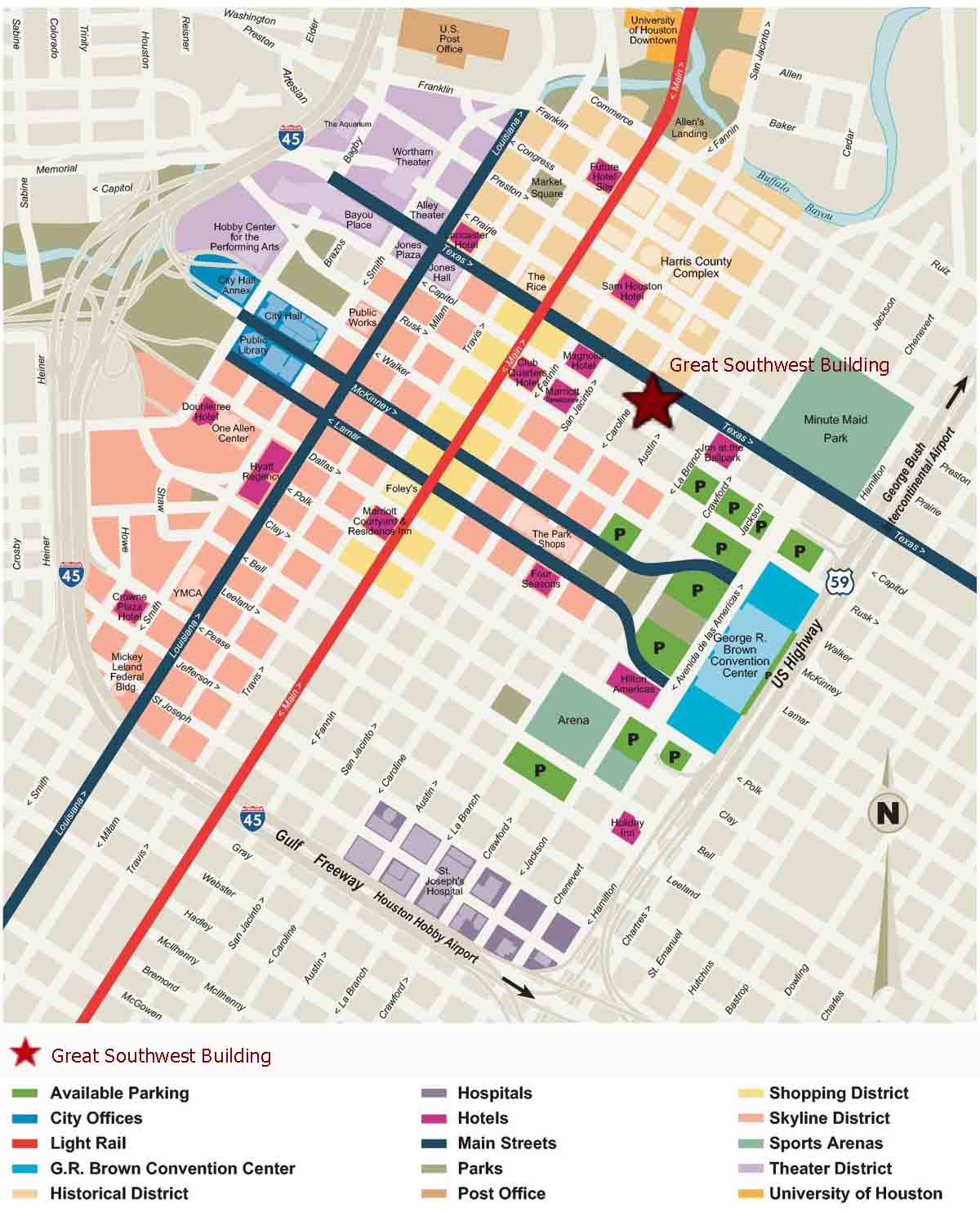 Downtown Houston Map   Houston Texas • mappery