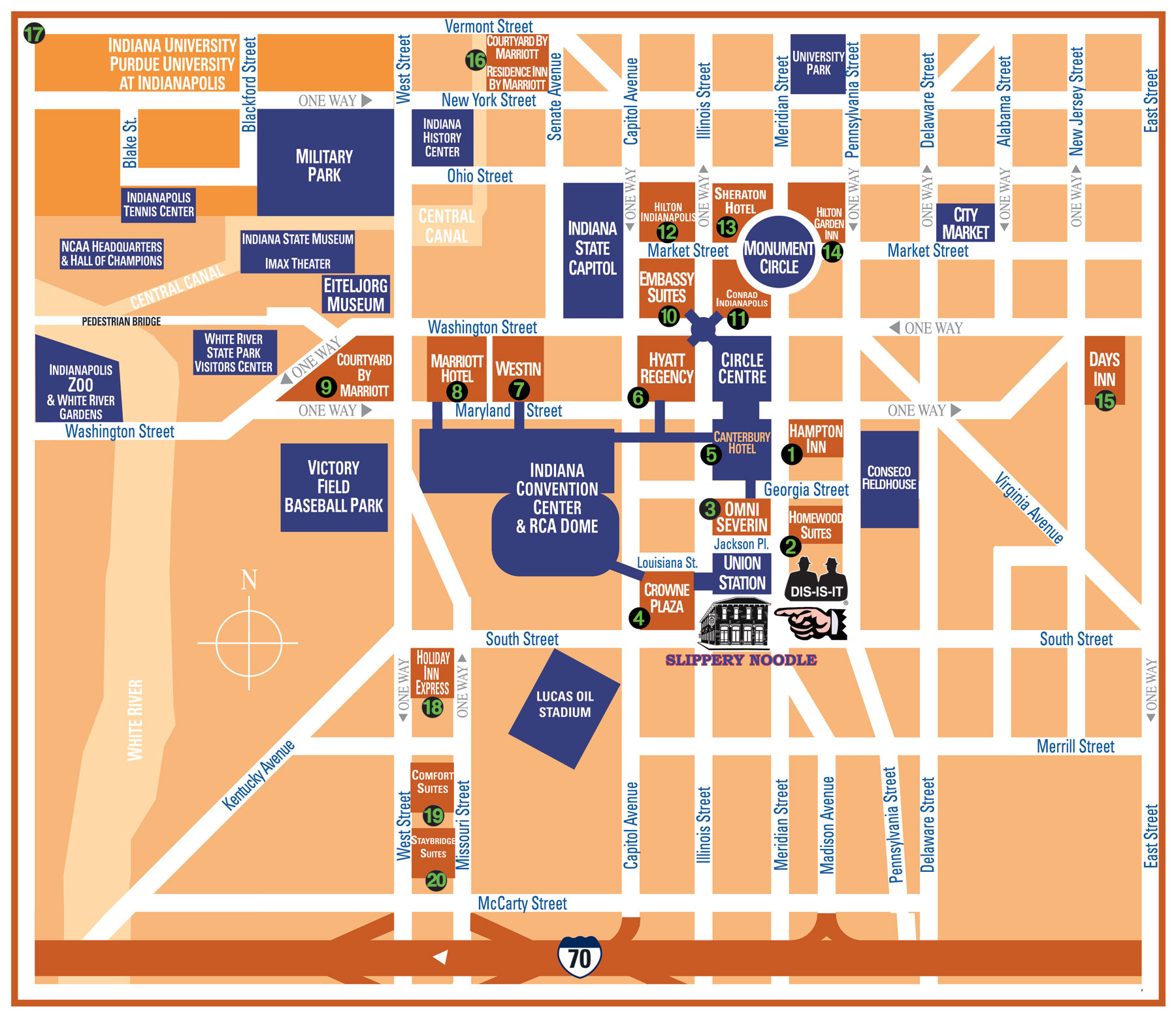 Downtown indianapolis map see map details from slipperynoodle com