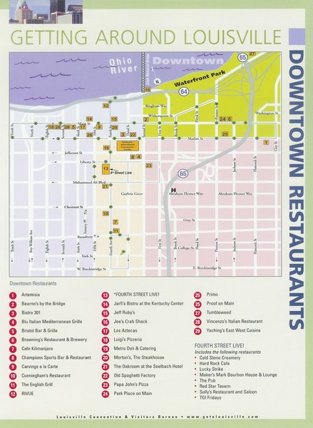 Downtown Louisville Hotels Map on