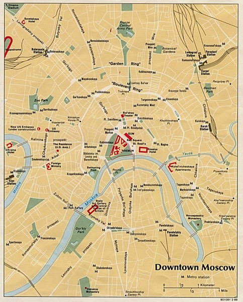 Downtown Moscow Tourist Map - Moscow • mappery