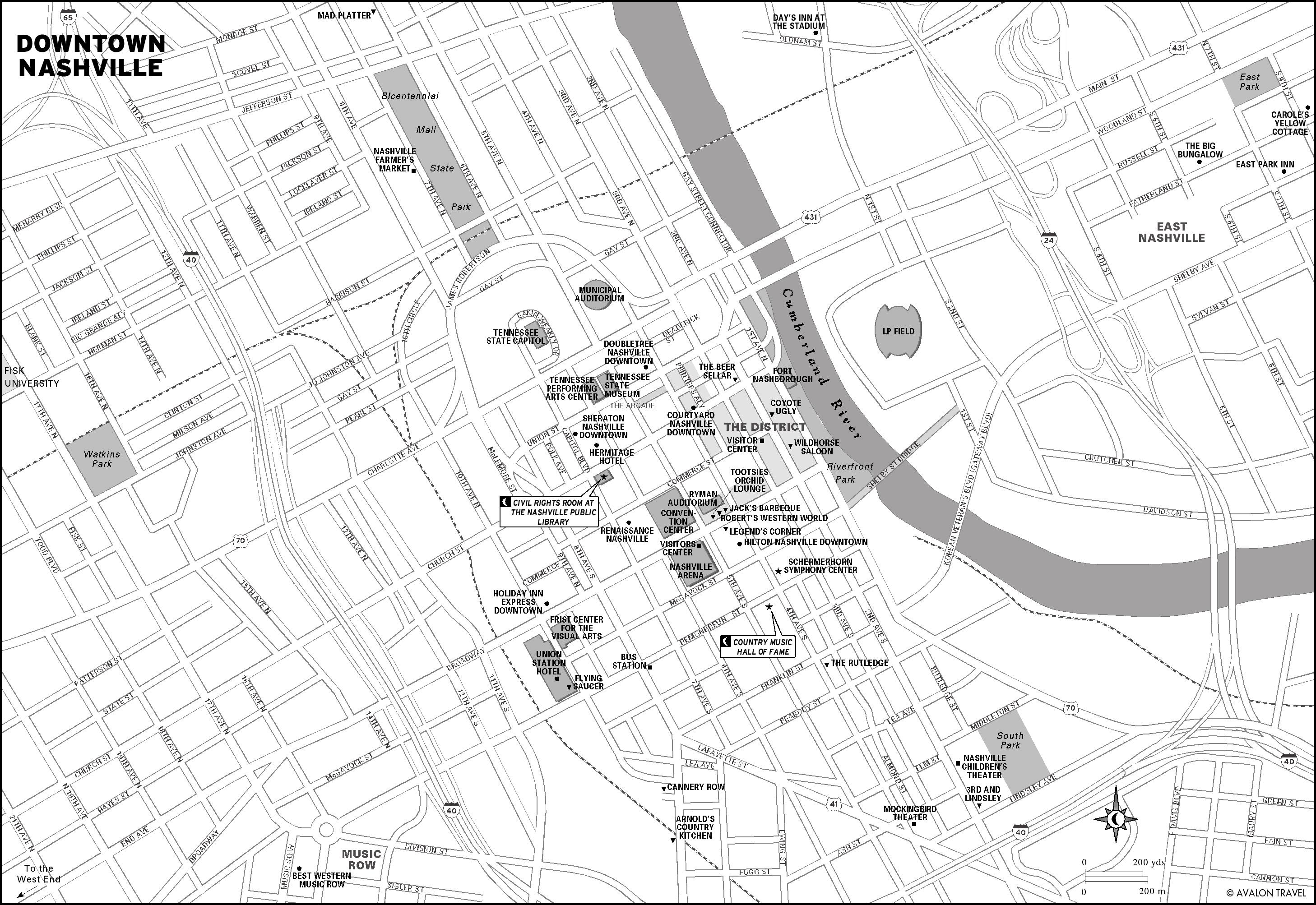 Downtown Nashville TN Tourist Map Nashville TN mappery – Tourist Map Of Nashville