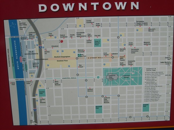 downtown sacramento city map sacramento california mappery. Black Bedroom Furniture Sets. Home Design Ideas