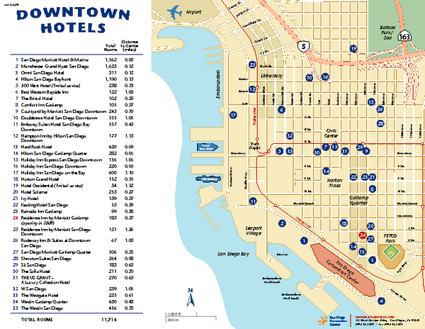 Downtown San Diego Tourist Map San Diego CA mappery