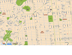 Downtown San Francisco: Castro and Noe Valley Map