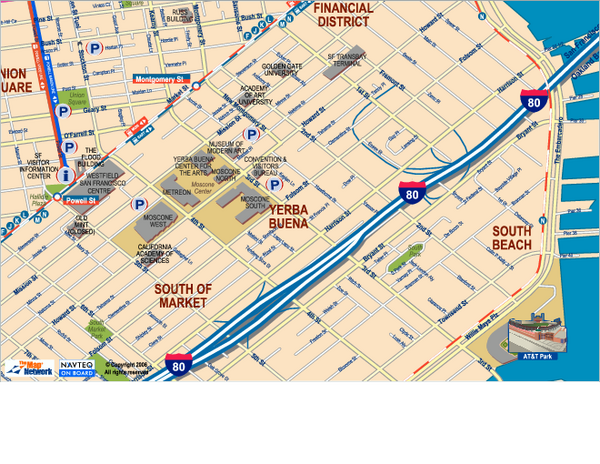 Downtown San Francisco: South of Market, Yerba Buena Center and South Beach Map