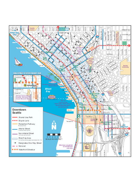 Downtown Seattle Bikeways Map - Seattle WA • mappery on
