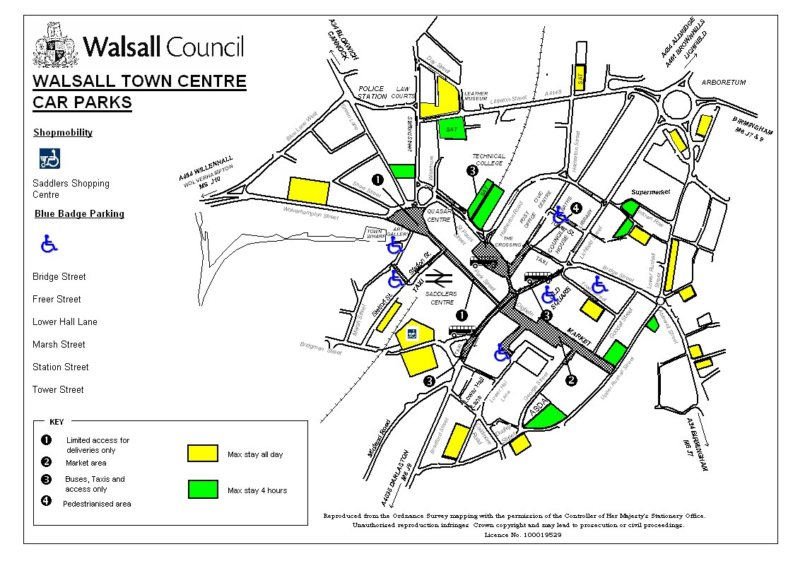 Downtown Walsall Parking Map Walsall mappery
