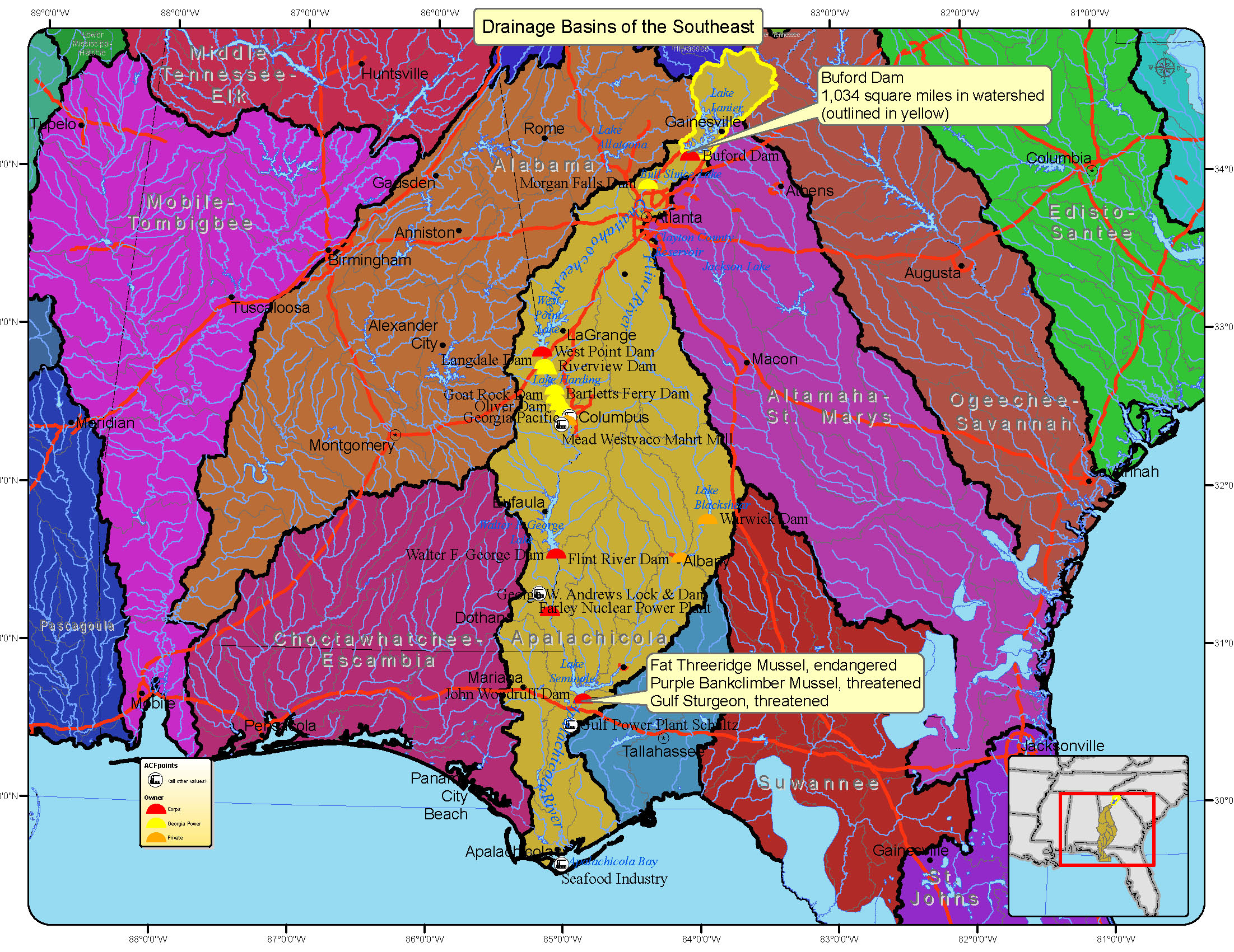 Drainage Basins Of Southeast United States Map Mappery - Us drainage basins map
