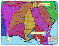 Drainage Basins of the Southeast United States Map