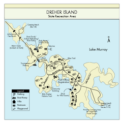 Dreher Island State Park Map