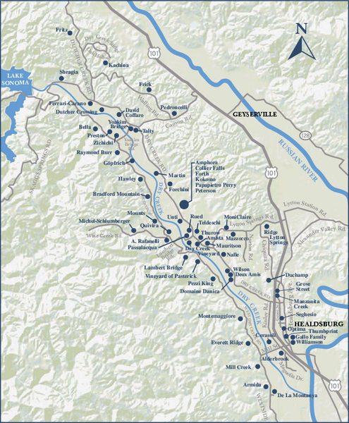 Dry Creek Valley Wineries, California Map