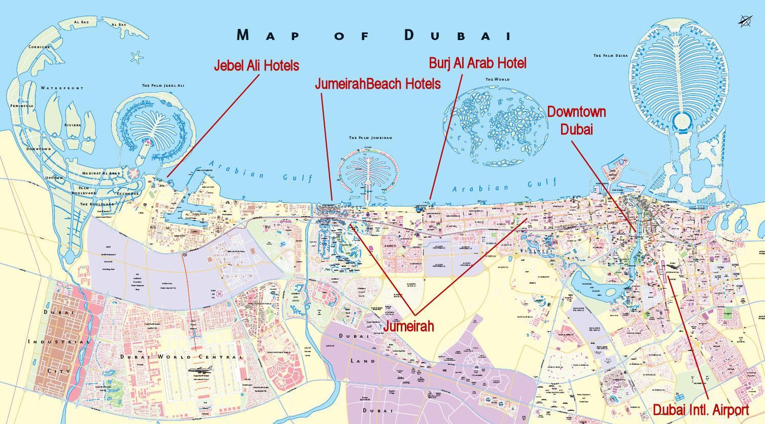 Dubai city map dubai united arab emirates mappery for Map of dubai hotels
