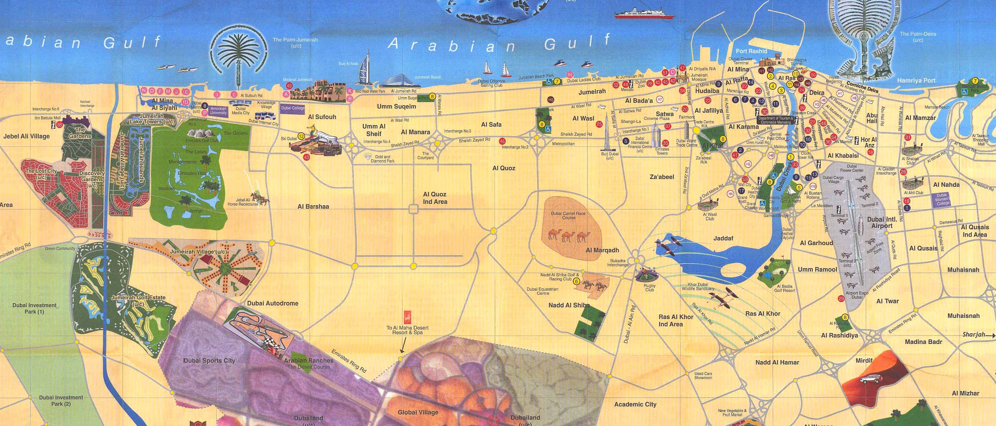 Dubai city tourist map dubai mappery for Map of dubai hotels