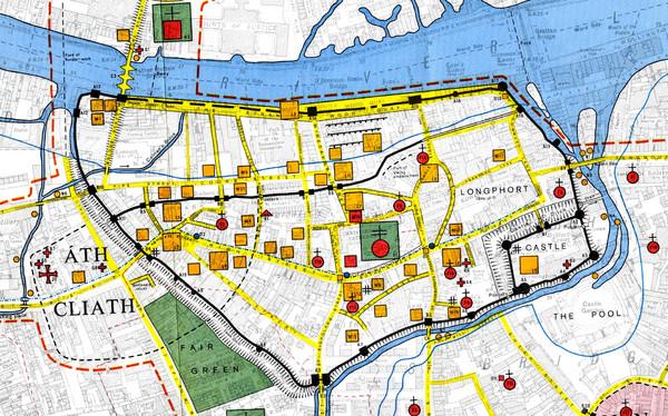 Maps Dublin.Dublin Medieval Map Dublin Ireland Mappery
