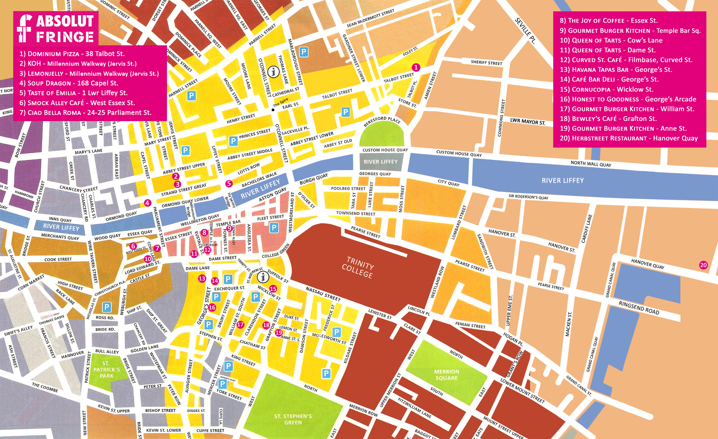 Dublin Restaurants Map Trinity College Dublin • mappery