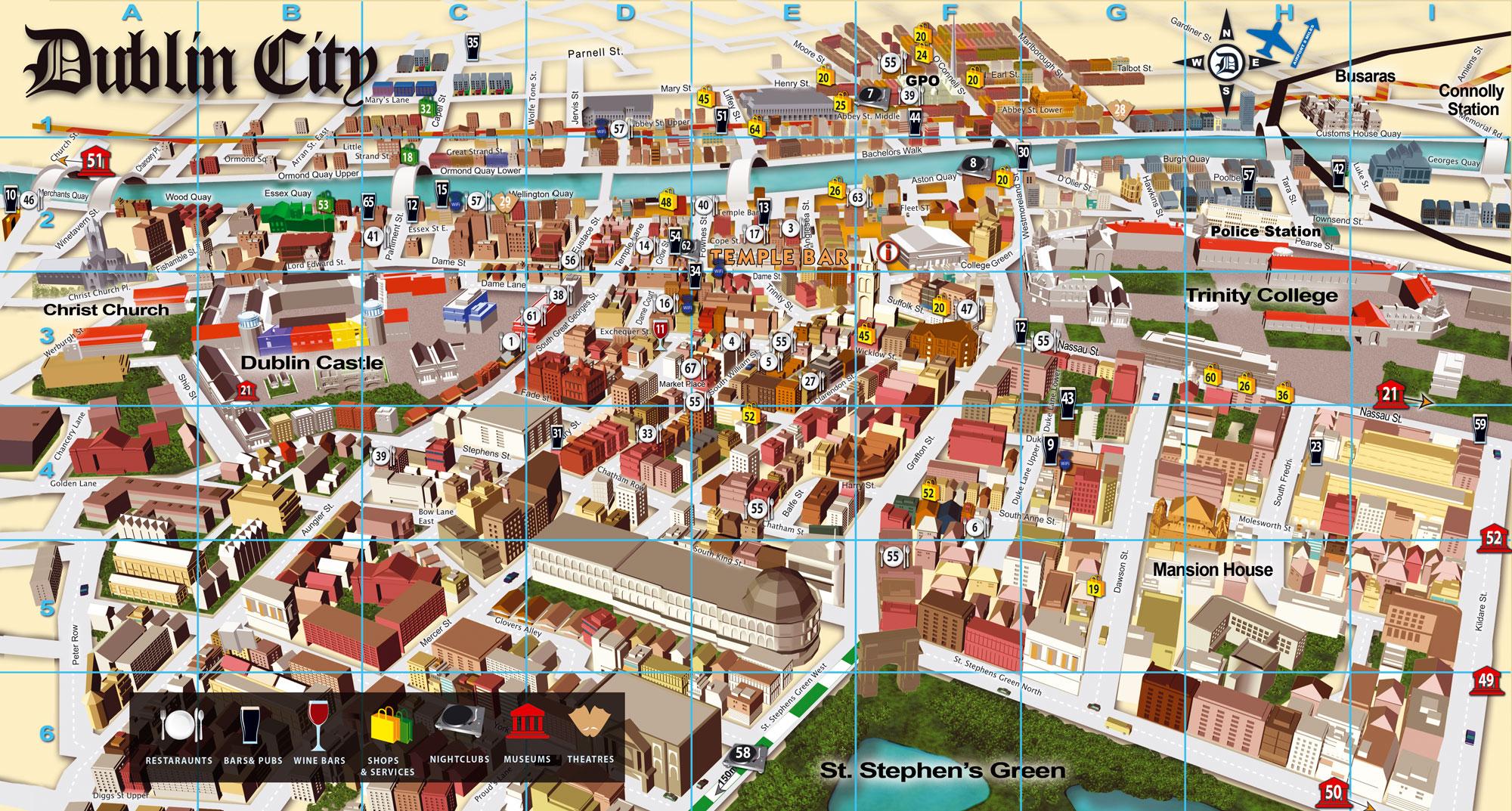 Dublin Tourist Map Dublin Ireland mappery – Tourist Map Of Dublin