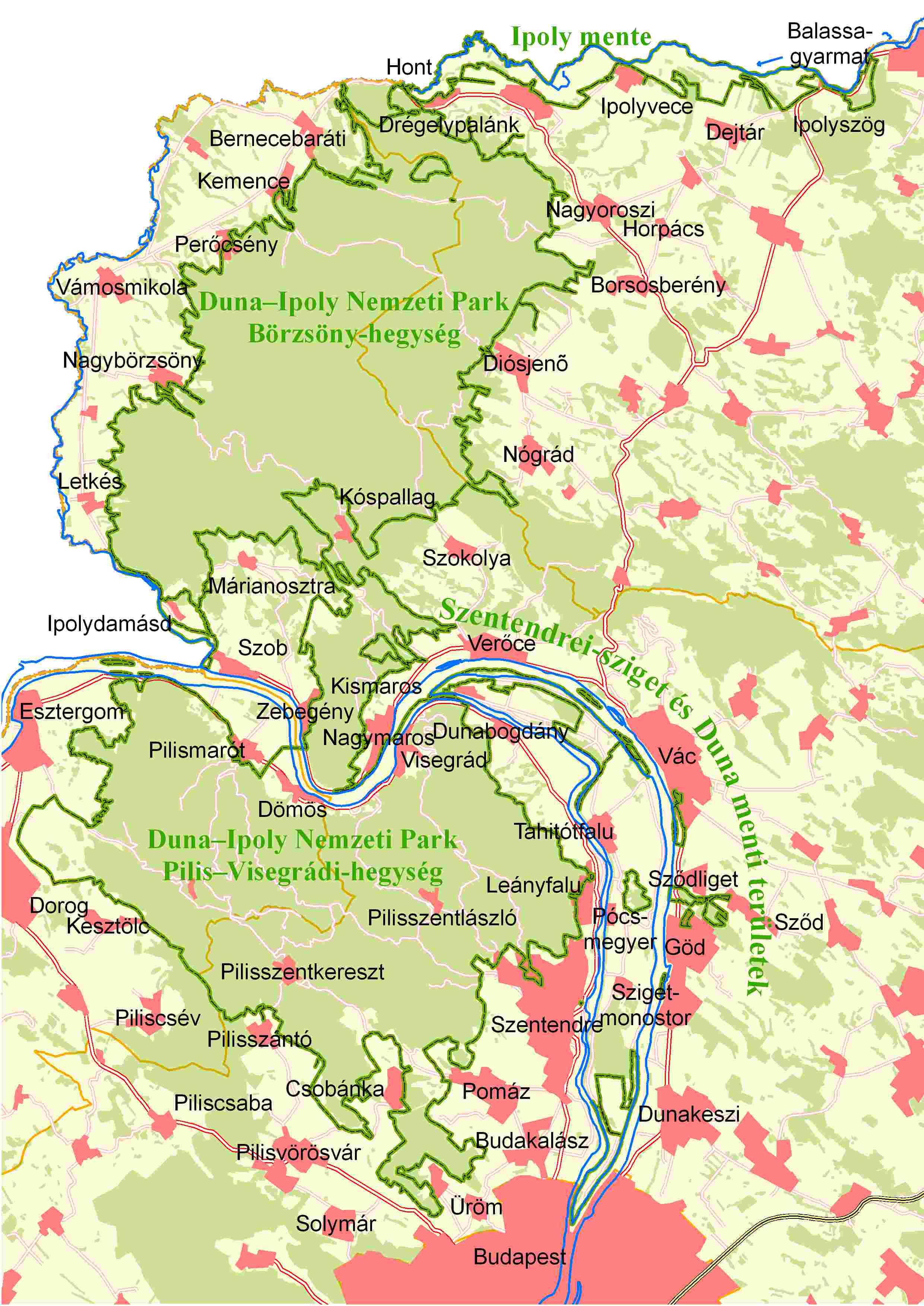 Duna Ipoly Nemzeti Park Map Duna Ipoly Nemzeti Park Hungary