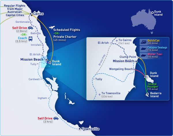 Dunk Island Resort - Great Barrier Reef Queensland Map