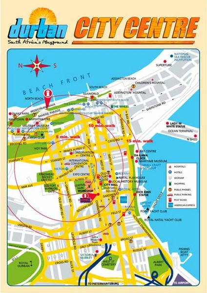 Durban City Center Map Durban South Africa Mappery