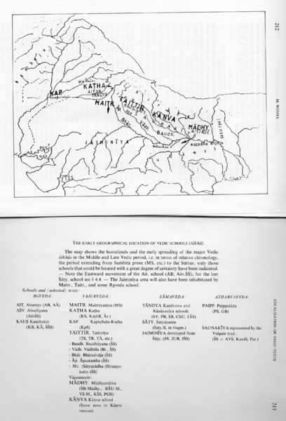 Early Geographical Locations of Vedic Schools Map
