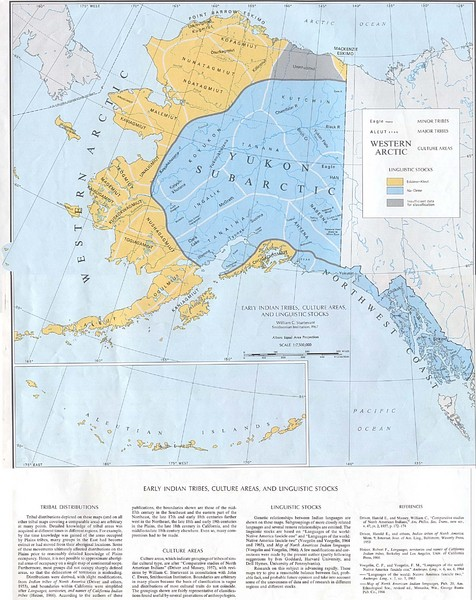 Early Native American Tribes in Alaska Historical Map