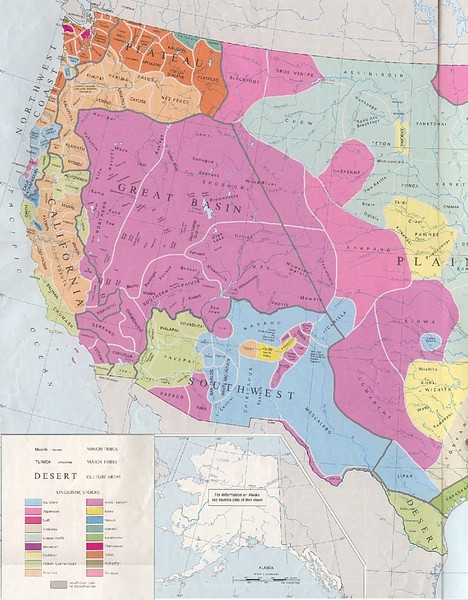 Early Native American Tribes in Western United States Historical Map ...