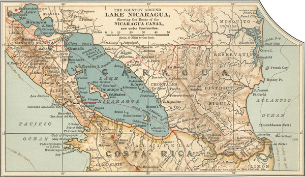 Early Map Of Nicaragua Canal Mappery - Map of nicaragua