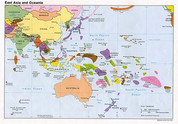 East Asia and Oceania Political Map East Asia mappery