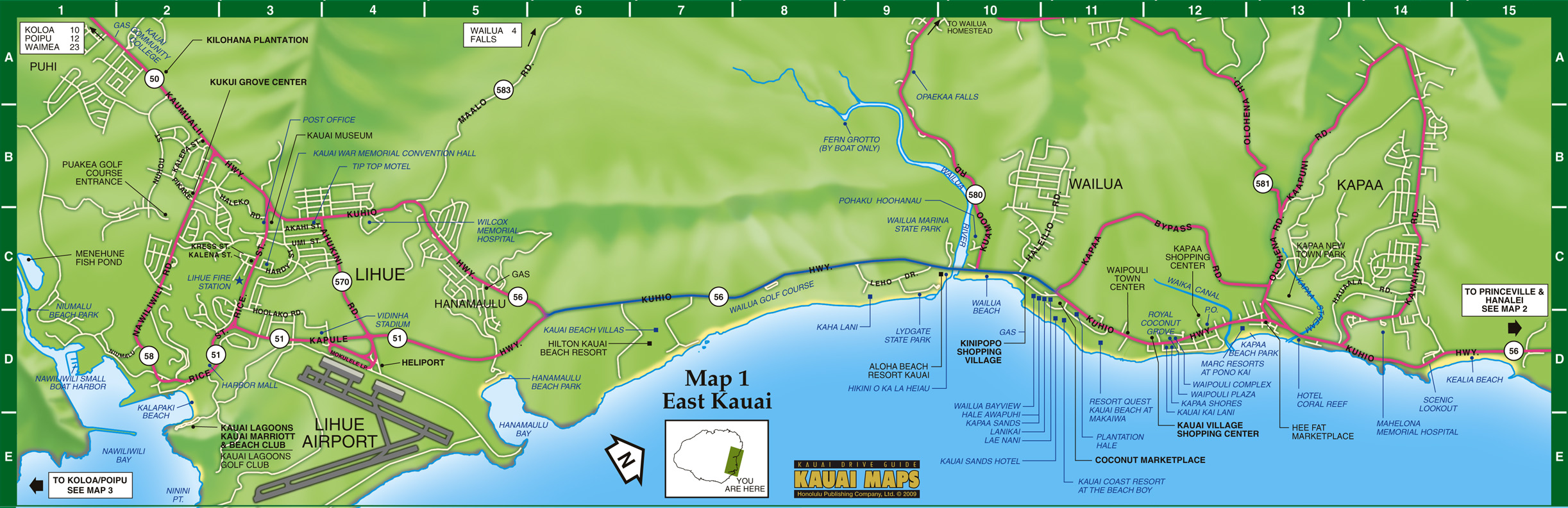 East Kauai Map Kauai HI US mappery – Tourist Map Of Kauai