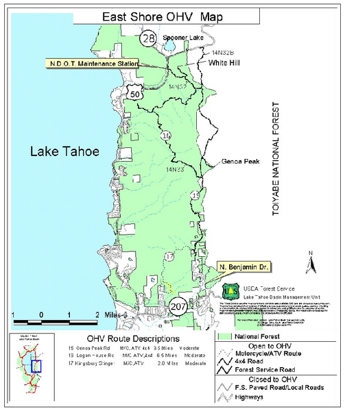 East Shore Lake Tahoe Off-highway Vehicle Map