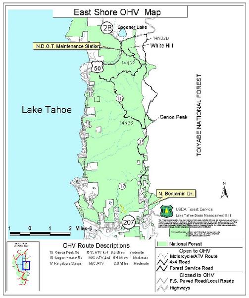 East Shore Lake Tahoe Off-highway Vehicle Map - lake tahoe ca • mappery