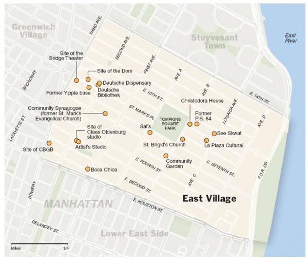 East Village walking tour map - manhattan new york • mappery