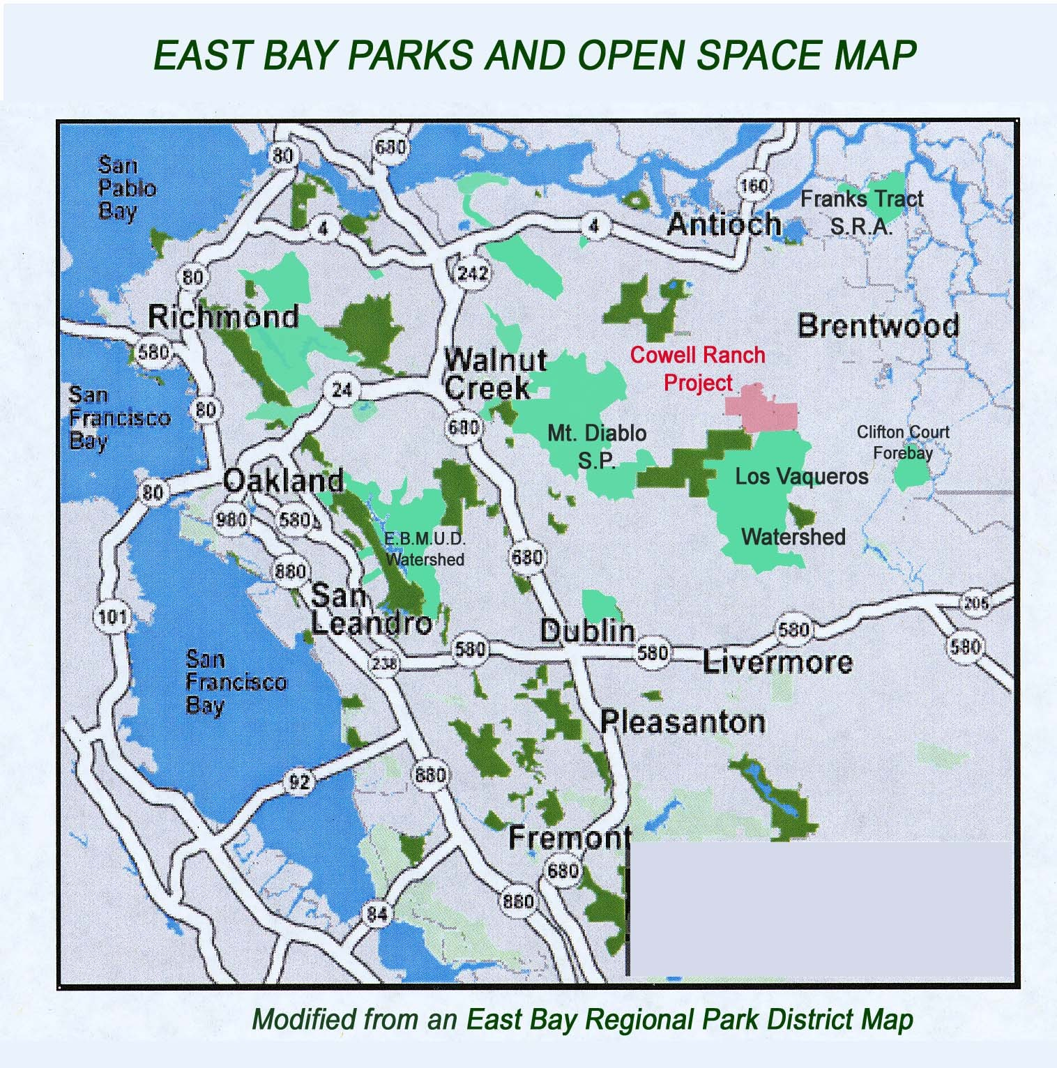 Eastbay Parks And Open Spaces Map Richmond California