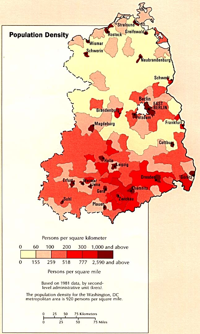 Eastern Germany Population Density Map Germany Mappery - Germany population map 2015