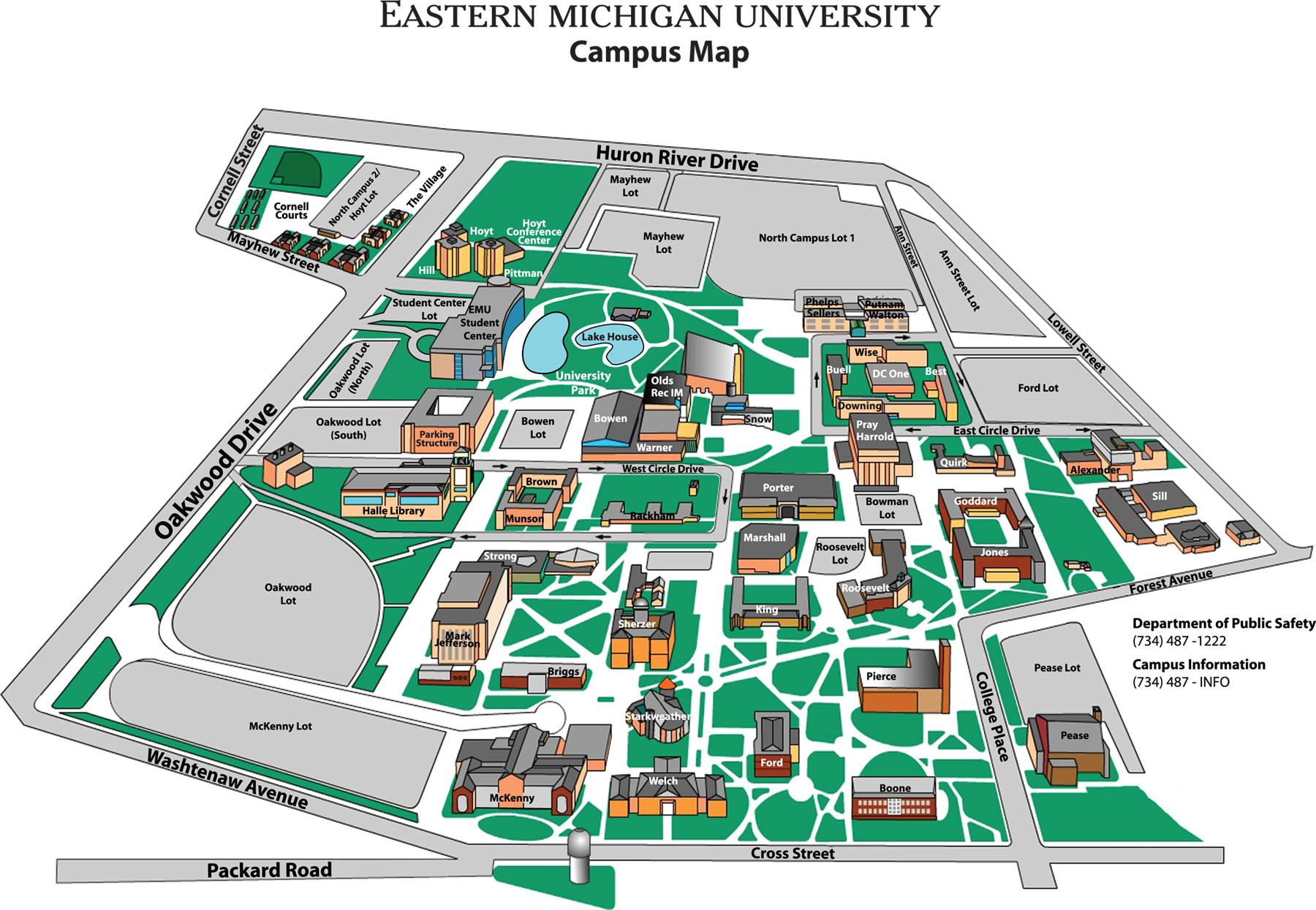 Eastern Michigan University Map  Eastern Michigan