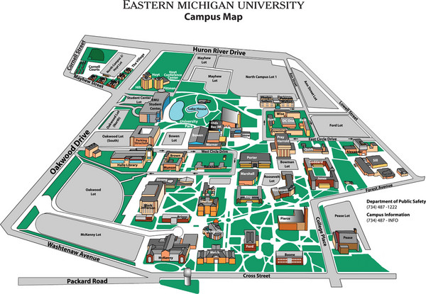 Eastern Michigan University Map Eastern Michigan University Ann