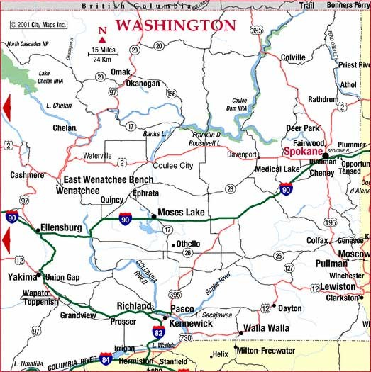 Eastern Washington Road Map  WA USA  Mappery
