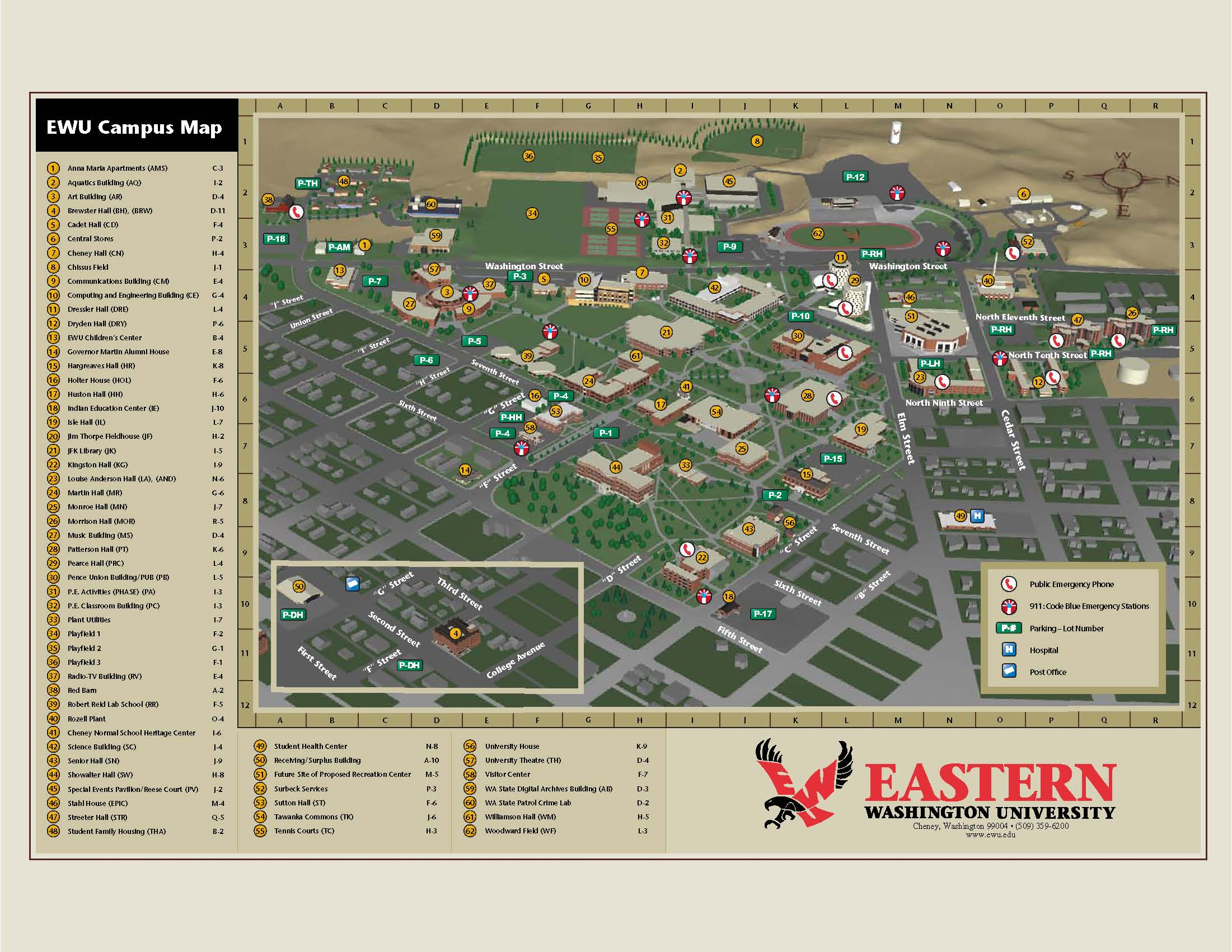 Eastern Washington University Campus Map Cheney Washington Mappery
