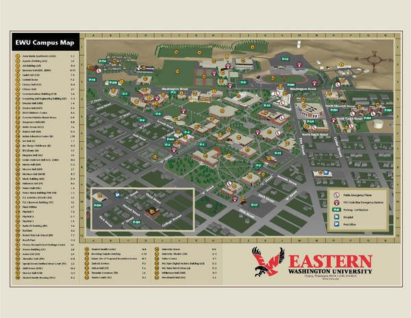 Eastern Washington University Campus Map Cheney Washington Mappery - Map eastern washington