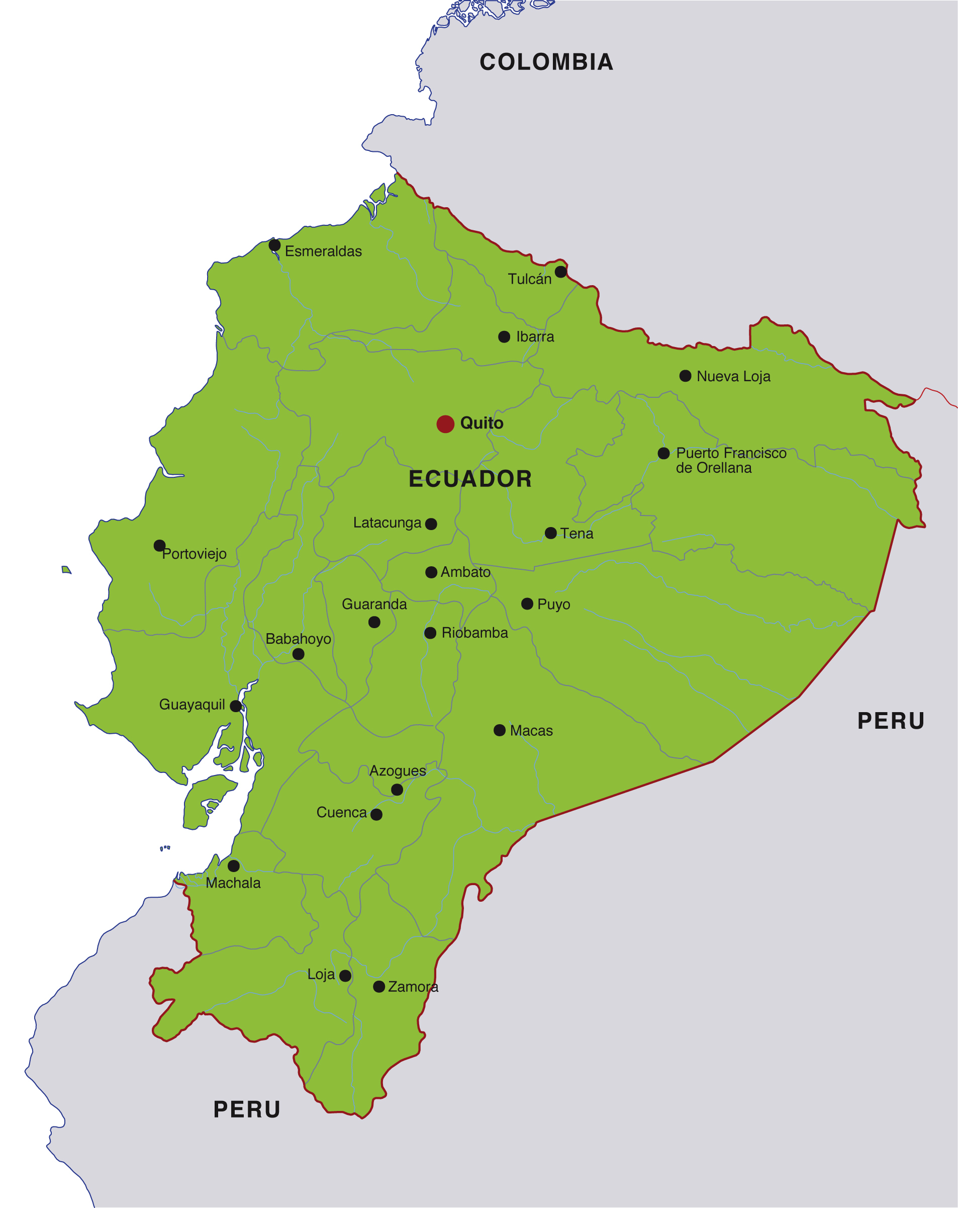 Ecuador Map Ecuador Mappery - Map of ecuador world