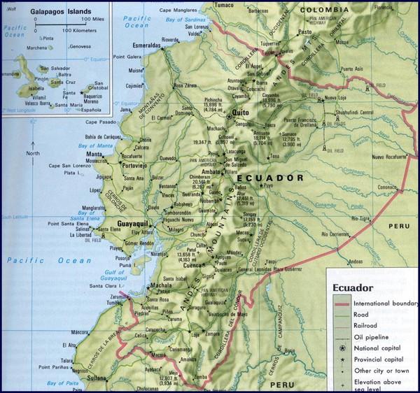 Ecuador Relief Map • mappery