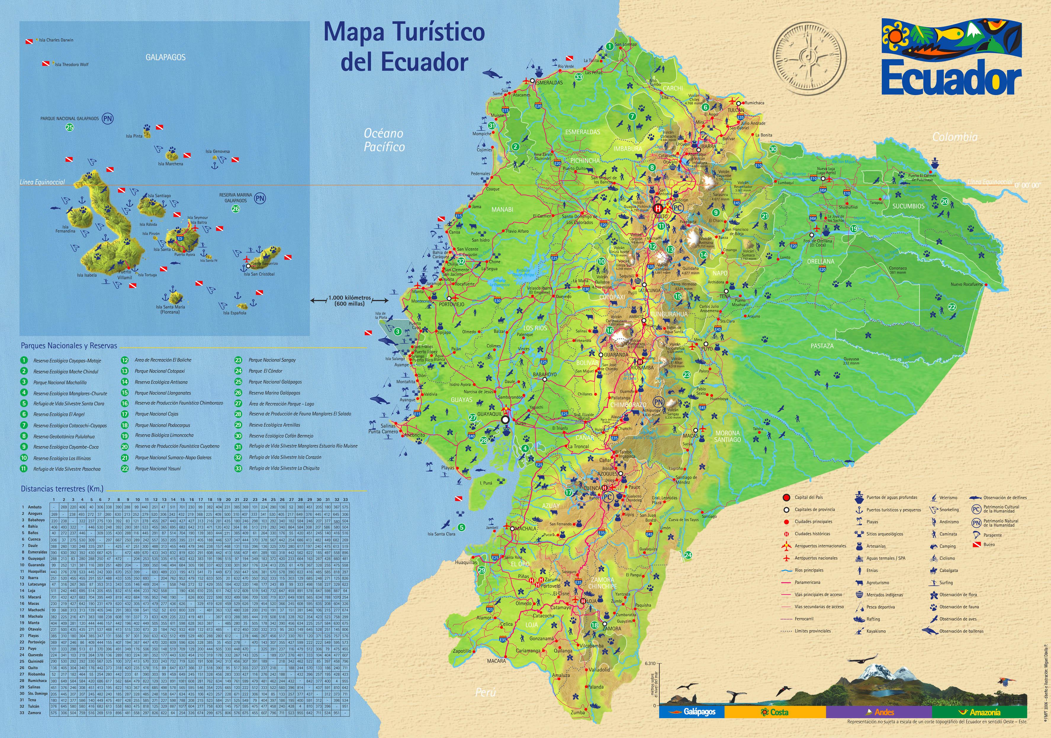 Ecuador Tourist Map Ecuador Mappery - Ecuador map