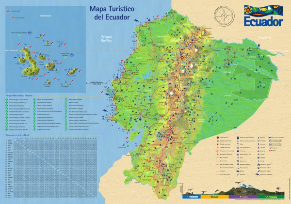 Detailed tourist map of Ecuador with inset of the Galapagos Islands.