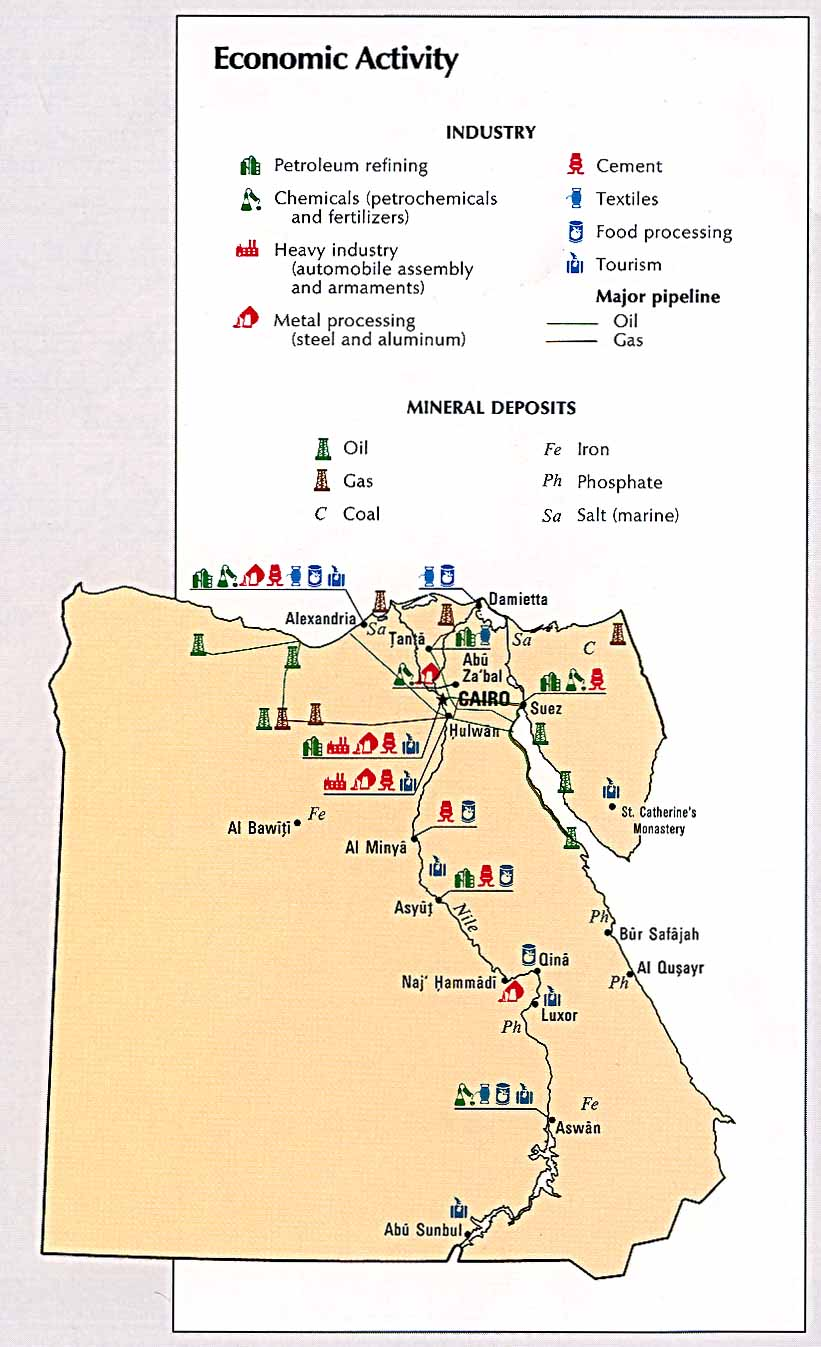 Egypt Economic Activity Map Egypt Mappery - Map of egypt's natural resources