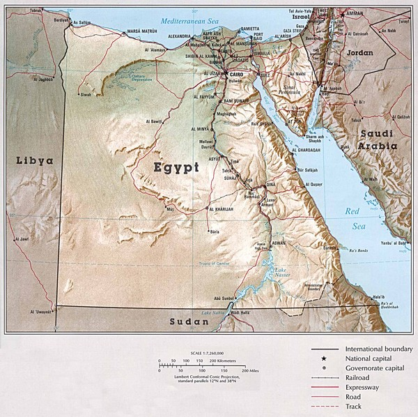 Egypt Maps Mappery - Map of egypt elevation